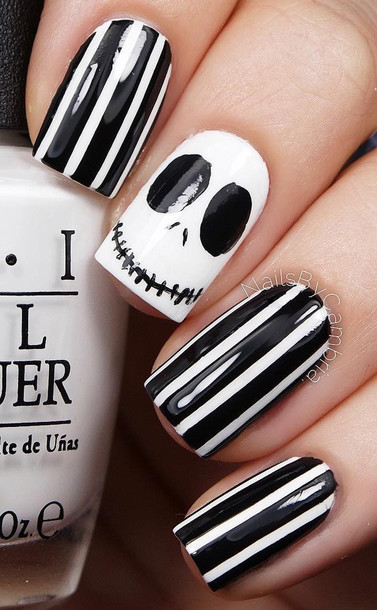 nail polish nail art stripes tim burton skeleton mr jack black and white halloween makeup halloween
