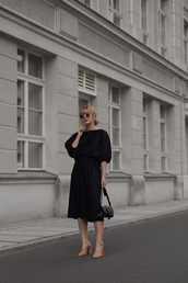 dress,mules,midi dress,black dress,mini bag,sunglasses