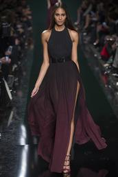 dress,tie dye,tye dye dress,chiffon dress,chiffon,mousseline,d?grad?,burgundy,black,red,plum,rouge,pink,purple,model,runway,d?fil?,fashion,haute couture