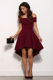 dress,formal,formal dress,skater dress,skater,burgundy,fancy,off the shoulder,windsor,jeans,clothes,high low dress,dark red,sleeves off shoulder,red,red dress,prom dress,christmas dresses,rouge bordeaux,short,party,burgundy dress,dipped hem,party dress,prom,burgendy,off the shoulder dress,merone,rouge,midi dress