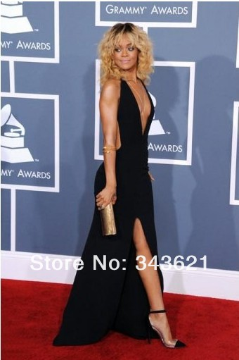 Sexy Black Celebrity Dresses Inspired by Rihanna Deep V neck Slit Floor Length Backless Sheath Gowns RC 119-in Celebrity-Inspired Dresses from Apparel & Accessories on Aliexpress.com