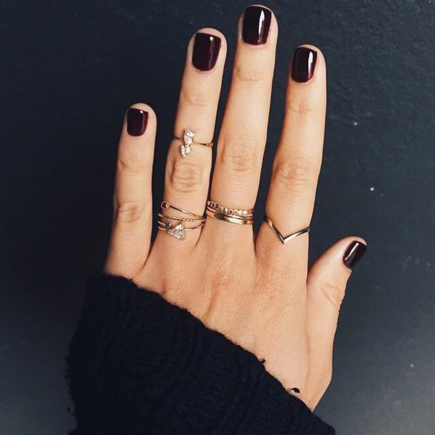 Nail Polish Tumblr Dark Knuckle Ring Nails