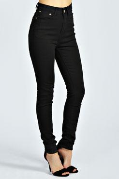 Debbie High Waisted Skinny Jeans at boohoo.com