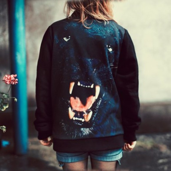 panther black animal jacket hipster hipta