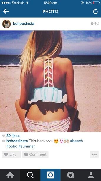 swimwear lattice bikini mint multicolor tumblr twitter instagram