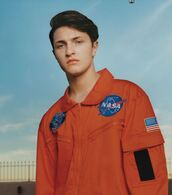 jacket,anwar hadid,editorial,menswear,mens jacket,nasa,orange jacket
