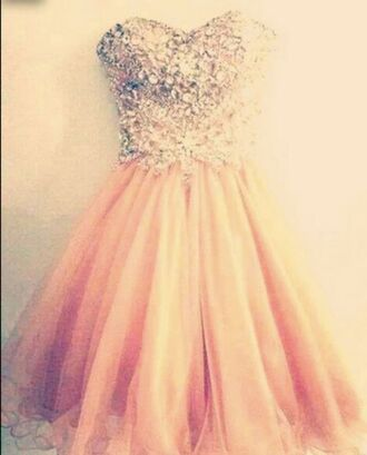 dress pink pink dress jewels cute cute dress glitter dress orange dress puffy