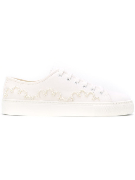 women embellished sneakers lace leather white cotton shoes