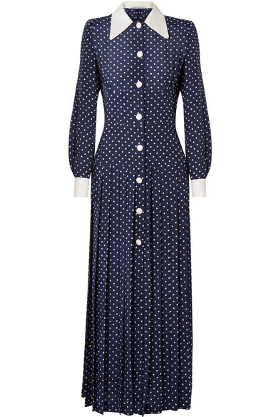 Alessandra Rich - Pleated polka-dot silk crepe de chine midi dress
