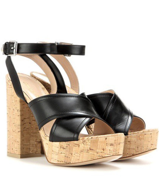 Gianvito Rossi sandals platform sandals leather black shoes
