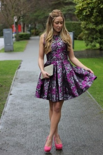 dress purple dress skater dress floral dress