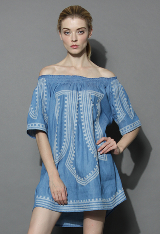 dress boho all the way tunic in chambray chicwish boho dress off the shoulder summer dress chicwish.com