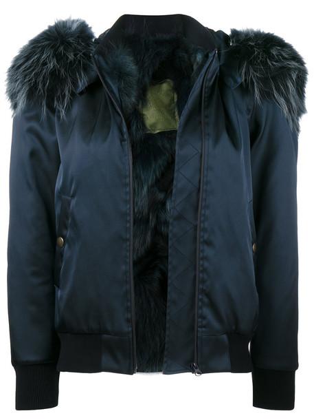 Mr & Mrs Italy - Blue fur collar bomber jacket - women - Cotton/Fox Fur/Polyamide/Polyurethane - L, Cotton/Fox Fur/Polyamide/Polyurethane