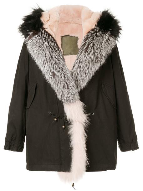 Mr & Mrs Italy coat parka fur fox women cotton black
