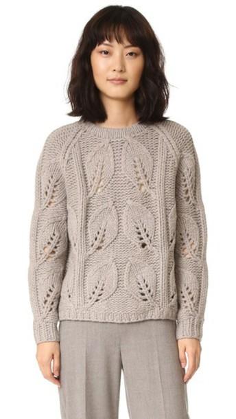 Lela Rose Leaf Knit Pullover - Taupe