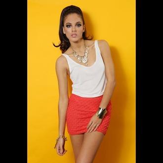 skirt orange white yellow top tank top white tank top white top patterned skirt mini skirt