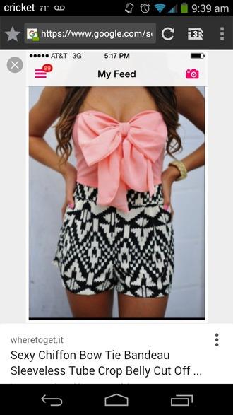 jumpsuit sleeveless aztec pink bowtie