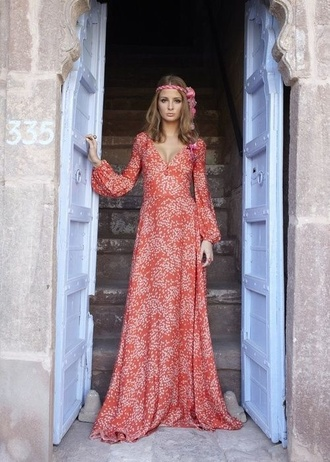 dress hippie red dress floral dress long dress 70s style