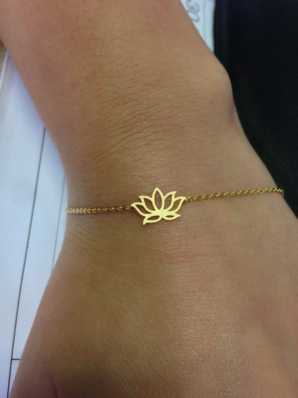 simple girly cute jewels bracelets chain lotus lotus flower namaste spiritual india femenine