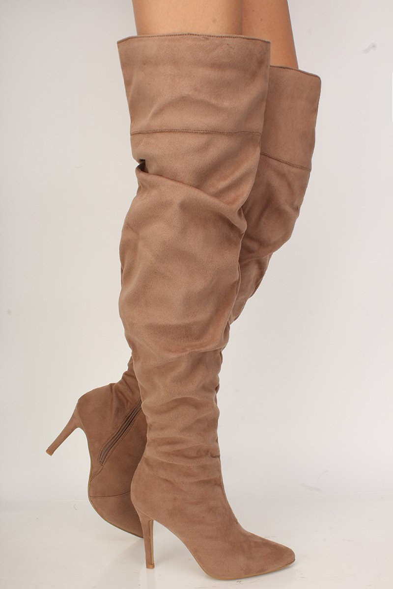 Sexy Taupe Slouchy Pointy Toe High Heels Thigh High Boots Faux Suede