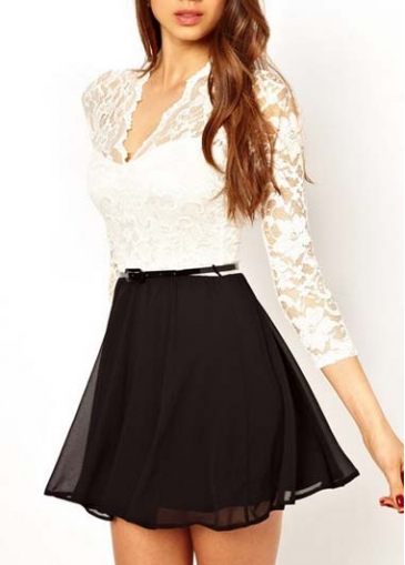 Black and white color blocking long sleeve dress