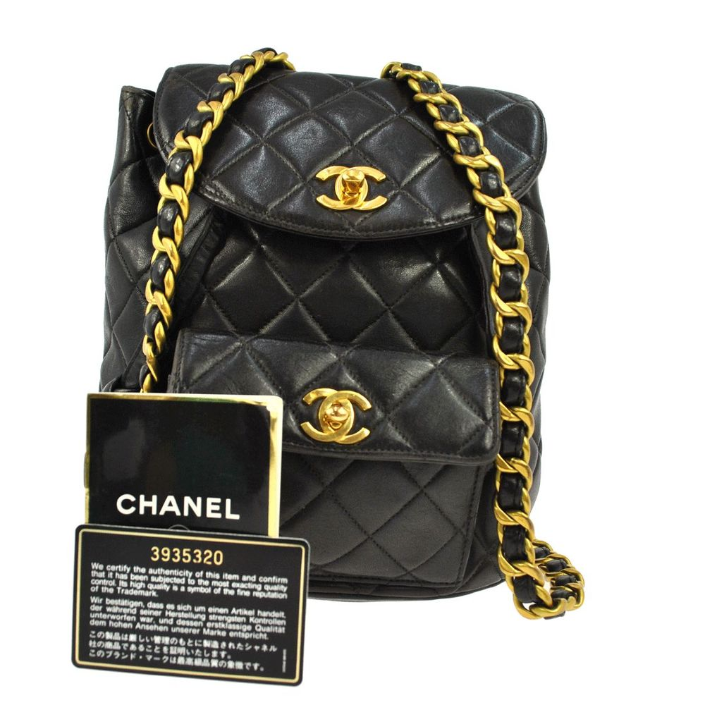 Auth CHANEL CC Logos Backpack Quilted Leather Black Gold France Vintage JT00636