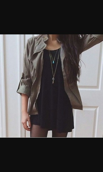 dress black dress little black boots little black dress army green jacket chunky necklace