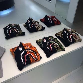 shirt fashion style jacket orange green red black brown grey zip up zip monster monsters monster face sweater shark