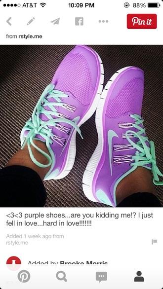 shoes nike free run purple shoes tiffany blue
