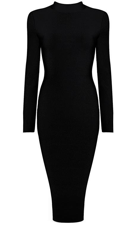 Long Sleeve High Neck Midi Bandage Dress Black
