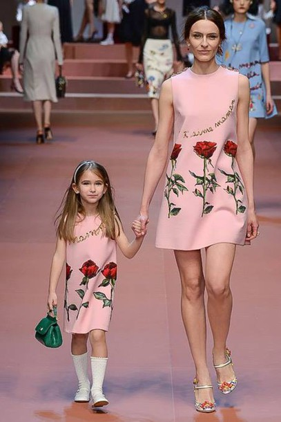 dress pink dress fashion week 2015 mother and child love quotes dolce and gabbana couture