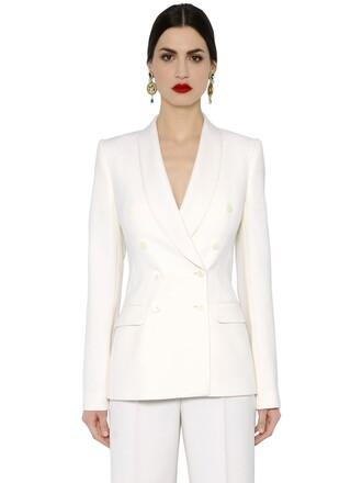 jacket wool jacket double breasted wool white