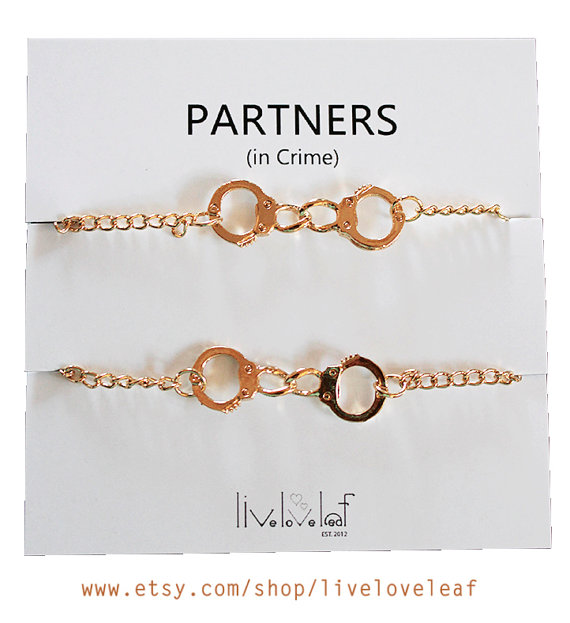Set of 2 gold plated handcuffs bracelets for best friends aka partners in crime bracelet bff jewelry gift ideas for her