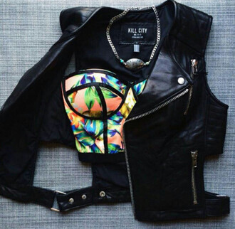 jacket leather bralette colorful black summer necklace fashion style t-shirt shirt