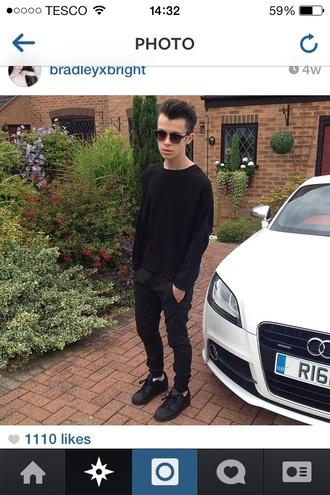 pants jeans black adidas sunglasses t-shirt hipster