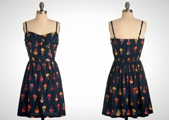 dress spaghetti strap ice cream hipster print dress patterned dress