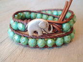 jewels,bracelets,elephant,beaded,boho,leather,turquoise,beaded bracelet,elephant bracelet,cute,brown,indie,animal,green,blue-green,bracelet chains