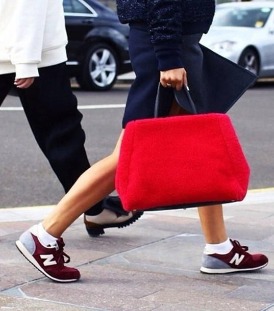 shoes trainers burgundy new balance bag
