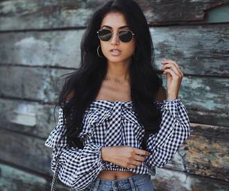 top tumblr gingham off the shoulder off the shoulder top long sleeves crop tops sunglasses necklace earrings ring jewels jewelry