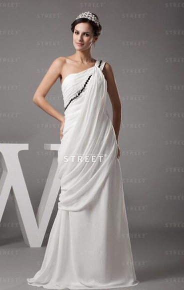 dress pleated dress one shoulder floor-length