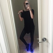 shoes,amanda steele,glow in the dark,grunge,pale,tumblr,leggings,on point clothing,shoe game,sneakers,black,blue,light up shoes,all black everything,edgy,instagram,cool,girl,dope,swag,cool shoes
