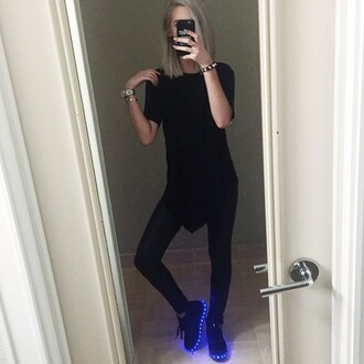shoes amanda steele glow in the dark grunge pale tumblr leggings on point clothing shoe game sneakers black blue light up shoes all black everything edgy instagram cool girl dope swag cool shoes