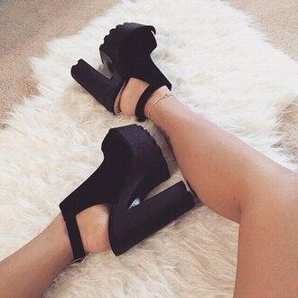 shoes black platform heels slingback heels faux suede peep toe