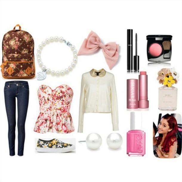 Fashionable Clothes Shoes Jeans Lipsticks Nail Polish: Top: Flowers, Peplum, Ariana Grande, Ariana Grande, Cute