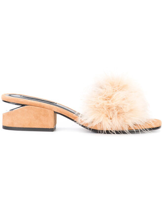 feathers women sandals leather brown shoes