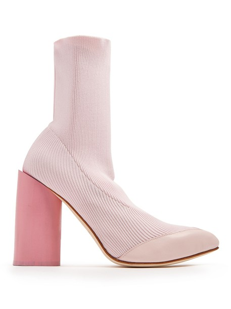 Toga heel ankle boots leather knit light pink light pink shoes
