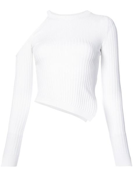 Cushnie Et Ochs - asymmetric cut-out top - women - Polyester/Viscose - L, White, Polyester/Viscose