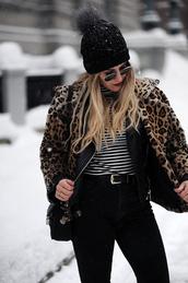 jacket,tumblr,fur jacket,faux fur jacket,printed fur jacket,top,stripes,striped top,jeans,black jeans,belt,beanie,black beanie,sunglasses,bag,black bag,leopard print
