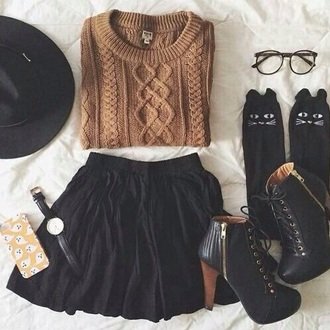 skirt jumper yellow black black skirt glasses socks watch iphone cover accessories hat black hat sweater