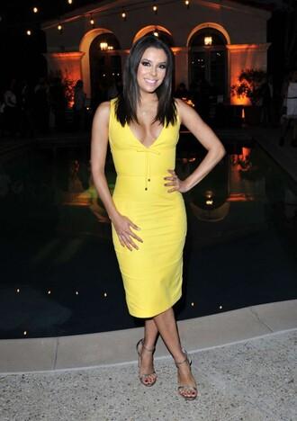 dress yellow midi dress sandals eva longoria yellow dress summer dress summer outfits